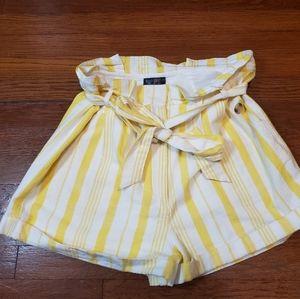 Topshop Yellow Striped Paper Bag Waist Shorts